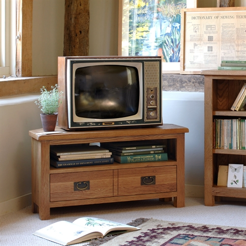 lyon petite oak corner tv unit with 1 drawer up to 40 rustic oak fully asse ebay. Black Bedroom Furniture Sets. Home Design Ideas